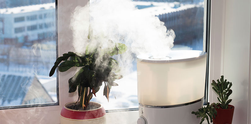 Humidifier is turned on in a home