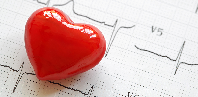 Plastic red heart sitting on a heart rate chart