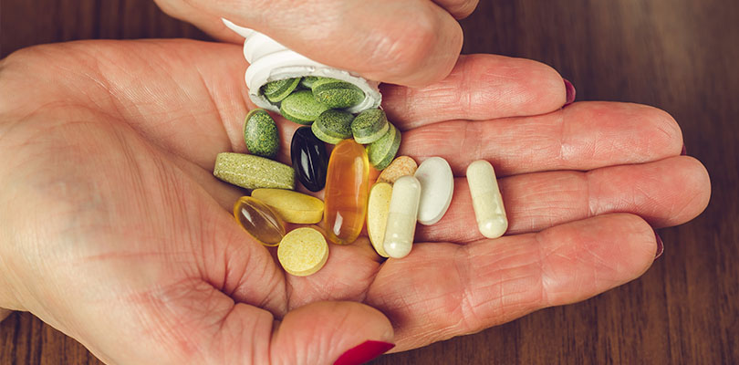 A handful of vitamins and minerals