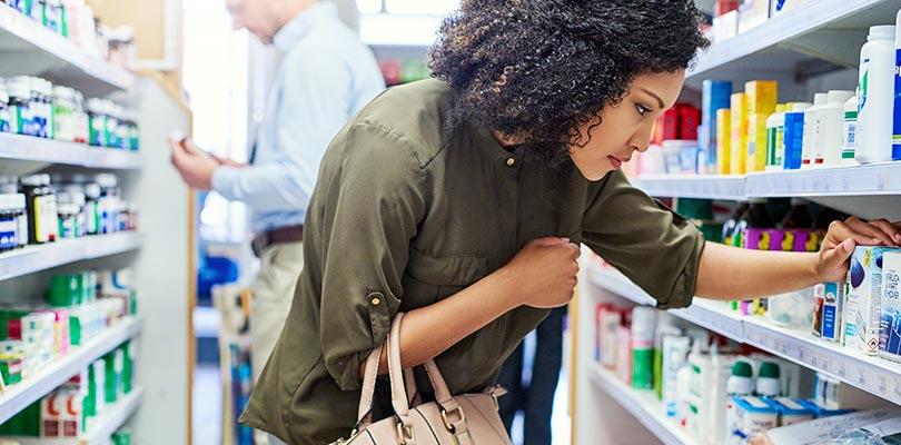 Female customer in a pharmacy