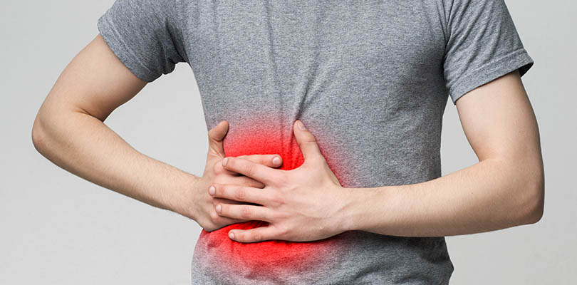 Man suffering from appendicitis